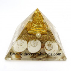 Gomti Chakra / Shiva Eye Pearl Orgone Pyramid With Meru Shreeyantra