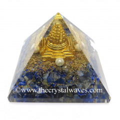 Lapis Lazuli Chips Orgone Pyramid With Meru Shreeyantra