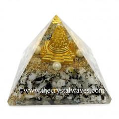 Rinbow Moonstone Chips Orgone Pyramid With Meru Shreeyantra