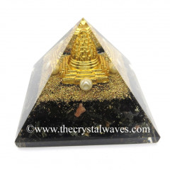 Black Tourmaline Chips Orgone Pyramid With Meru Shreeyantra