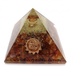 Carnelian Chips Orgone Pyramid With Sun Symbol
