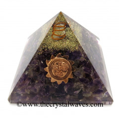 Amethyst Chips Orgone Pyramid With Sun Symbol
