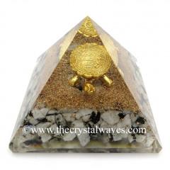 Rainbow Moonstone Chips Orgone Pyramid With Fengshui / Vastu Tortoise