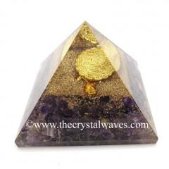 Amethyst Chips Orgone Pyramid With Fengshui / Vastu Tortoise