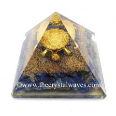Lapis Lazuli Chips Orgone Pyramid With Fengshui / Vastu Tortoise