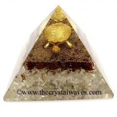 Rudraksha & Crystal Quartz Chips Chips Orgone Pyramid With Fengshui / Vastu Tortoise