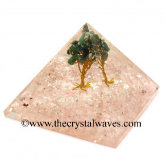 Rose Quartz Chips Base With Green Aventurine Tree Orgone Pyramid