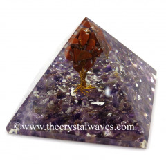 Amethyst Chips Base With Red Jasper Tree Orgone Pyramid