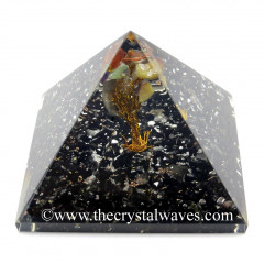 Black Tourmaline Chips Base With Chakra Tree Orgone Pyramid
