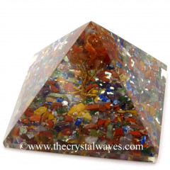 Chakra Chips Base With Carnelian Tree Orgone Pyramid