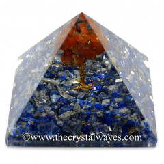 Lapis Lazuli Chips Base With Carnelian Tree Orgone Pyramid