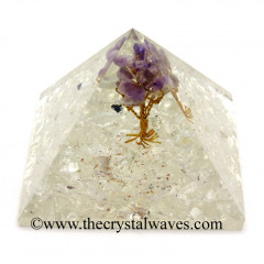 Crystal Quartz Chips Base With Amethyst Tree Orgone Pyramid