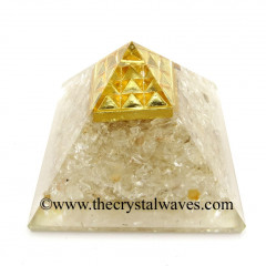 Crystal Quartz Chips Orgone Pyramid With Vastu / Lemurian Pyramid Plate