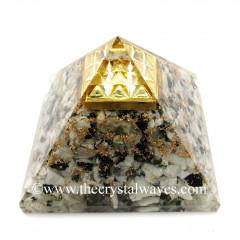 Rainbow Moonstone Chips Orgone Pyramid With Vastu / Lemurian Pyramid Plate