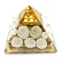 Gomti Chakra / Shiva Eyes Pearl Chips Orgone Pyramid With Vastu / Lemurian Pyramid Plate