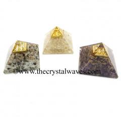 Mix Assorted Gemstone Chips Orgone Pyramid With Vastu / Lemurian Pyramid Plate