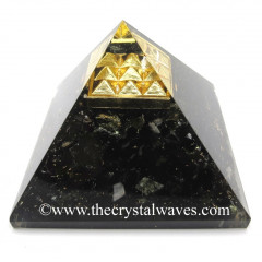 Black Tourmaline Chips Orgone Pyramid With Vastu / Lemurian Pyramid Plate