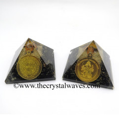 Black Tourmaline Chips Orgone Pyramid With Shree FiveFace Hanuman Protection Yantra / Shree PanchMukhi Hanuman Kavach Yantra