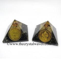 Shungite Chips Orgone Pyramid With Shree FiveFace Hanuman Protection Yantra / Shree PanchMukhi Hanuman Kavach Yantra