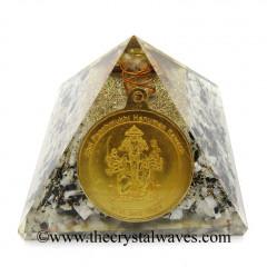 Rainbow Moonstone Chips Orgone Pyramid With Shree FiveFace Hanuman Protection Yantra / Shree PanchMukhi Hanuman Kavach Yantra