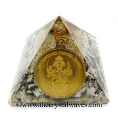 Rainbow Moonstone Chips Orgone Pyramid With Shree Saibaba Protection Yantra
