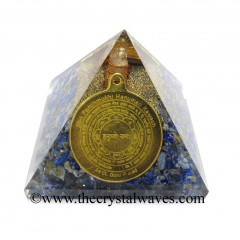 Lapis Lazuli Chips Orgone Pyramid With Shree FiveFace Hanuman Protection Yantra / Shree PanchMukhi Hanuman Kavach Yantra