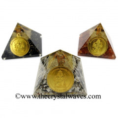 Mix Assorted Gemstone Chips Orgone Pyramid With Shree FiveFace Hanuman Protection Yantra / Shree PanchMukhi Hanuman Kavach Yantra