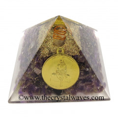 Amethyst Chips Orgone Pyramid With Shree Saibaba Protection Yantra