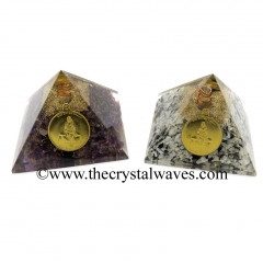 Mix Assorted Gemstone Chips Orgone Pyramid With Shree Saibaba Protection Yantra