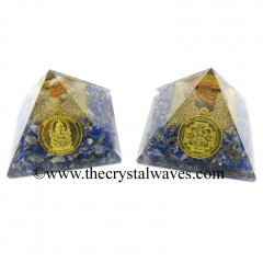 Lapis Lazuli Chips Orgone Pyramid With Shree Ganesha Protection Yantra