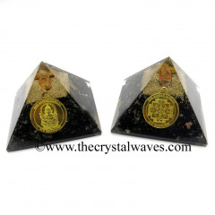 Black Tourmaline Chips Orgone Pyramid With Shree Ganesha Protection Yantra