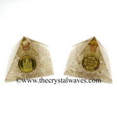 Crystal Quartz Chips Orgone Pyramid With Shree Ganesha Protection Yantra