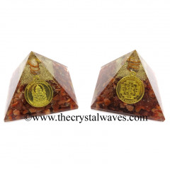 Carnelian Chips Orgone Pyramid With Shree Ganesha Protection Yantra