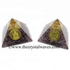 Amethyst Chips Orgone Pyramid With Shree Ganesha Protection Yantra