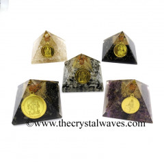 Mix Assorted Gemstone Chips Orgone Pyramid With Mix Assorted Protection Yantra