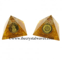 Yellow Dyed Quartz Chips Orgone Pyramid With Shree Dhan Laxmi Kavach Yantra / Shree Laxmi Wealth Protection Yantra
