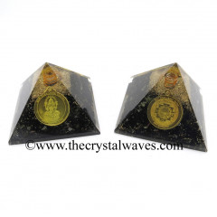 Black Tourmaline Chips Orgone Pyramid With Shree Dhan Laxmi Kavach Yantra / Shree Laxmi Wealth Protection Yantra