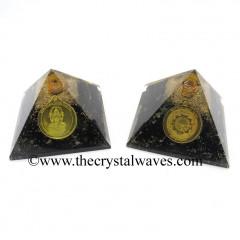 Shungite Chips Orgone Pyramid With Shree Dhan Laxmi Kavach Yantra / Shree Laxmi Wealth Protection Yantra