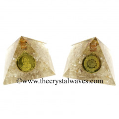 Crystal Quartz Chips Orgone Pyramid With Shree Dhan Laxmi Kavach Yantra / Shree Laxmi Wealth Protection Yantra