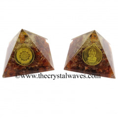 Carnelian Chips Orgone Pyramid With Shree Dhan Laxmi Kavach Yantra / Shree Laxmi Wealth Protection Yantra