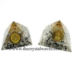 Rainbow Moonstone Chips Orgone Pyramid With Shree Dhan Laxmi Kavach Yantra / Shree Laxmi Wealth Protection Yantra