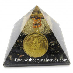 Black Tourmaline Chips Orgone Pyramid With Shree Maha Mrityunjaya Kavach / Protection Yantra