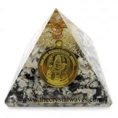 Rainbow Moonstone Chips Orgone Pyramid With Shree Maha Mrityunjaya Kavach / Protection Yantra