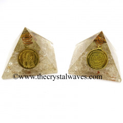 Crystal Quartz Chips Orgone Pyramid With Shree Maha Mrityunjaya Kavach / Protection Yantra