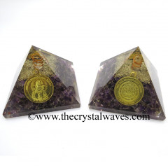 Amethyst Chips Orgone Pyramid With Shree Maha Mrityunjaya Kavach / Protection Yantra
