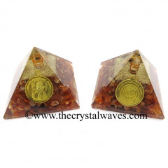 Carnelian Chips Orgone Pyramid With Shree Maha Mrityunjaya Kavach / Protection Yantra