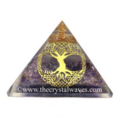 Glow In Dark GID Amethyst Chips Orgone Pyramid With Big Tree Of Life