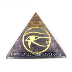 Glow In Dark GID Amethyst Chips Orgone Pyramid With Horus Eye Symbol