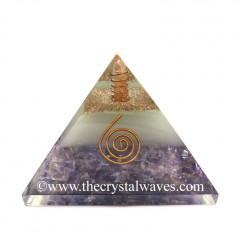 Glow In Dark GID Amethyst Chips Orgone Pyramid With Copper Wrrapped Crystal Point