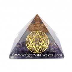 Glow In Dark GID Amethyst Chips Orgone Pyramid With 7 Chakra Metatron's Cube Symbol